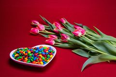 Candy and flower gifts royalty free stock image
