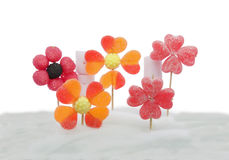 Candy flowers on candyfloss. Flowers made with different types of candy on a background of sweet cotton royalty free stock images