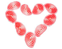 Candy fruit  coated candy hearts arranged in the shape of a heart, Isolated Royalty Free Stock Image