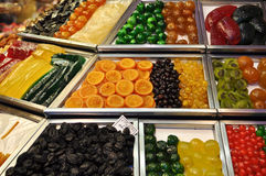 Candy and Fruit for Sale in Barcelona Spain Royalty Free Stock Photos