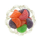 Candy fruit slices in a bowl top view Royalty Free Stock Image