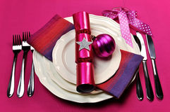Candy Fuchsia Pink Table Setting Royalty Free Stock Images