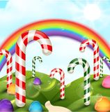 Candy garden background with rainbow Stock Photo