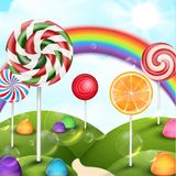 Candy garden background with rainbow Royalty Free Stock Photo