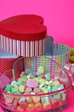 Candy and gift box in heart shape Royalty Free Stock Images