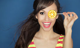 Candy girl. Beautiful girl with a lollipop Royalty Free Stock Images