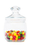 Candy in a glass jar. On white background stock photo