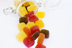 Candy in a glass jar,. Candy in a glass jar on white background, A glass jar full of candies isolated on white royalty free stock photography