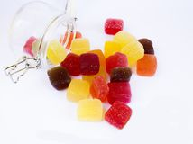 Candy in a glass jar,. Candy in a glass jar on white background, A glass jar full of candies isolated on white stock photo