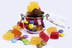 Candy in a glass jar,. Candy in a glass jar on white background, A glass jar full of candies isolated on white royalty free stock photos