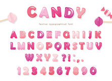 Candy glossy font design. Colorful pink ABC letters and numbers. Sweets for girls. Royalty Free Stock Image