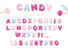 Candy glossy font design. Pastel pink and blue ABC letters and numbers. Sweets for girls. Stock Photos