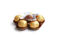 Candy in golden foil Royalty Free Stock Images