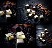 Candy in Golden foil, almonds and sunflower seeds in chocolate lying on a dark background.Studio collage. Candy in Golden foil, almonds and sunflower seeds in stock photo