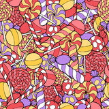 Candy graphic art color pink red violet yellow seamless pattern illustration Stock Photo