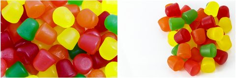 Candy gum drops collage. Colorful gum drop dots candy isolated white background yellow green red orange collage collection pile royalty free stock photos
