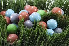 Candy gumballs in grass Royalty Free Stock Photography