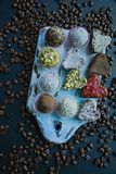 Candy handmade. Sweets without sugar from dried fruits and nuts. Proper nutrition. An assortment of nuts. View from above royalty free stock photo