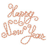 Candy Happy New Year Lettering, element for winter holidays  Stock Photos