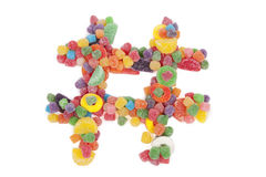 Candy Hashtag. Hashtag Made of Colorful Candy Royalty Free Stock Image