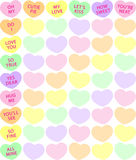 Candy Heart Background. Background illustration of traditional conversation candy hearts stock illustration