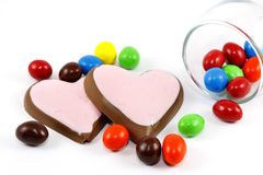 Candy and heart Chocolate on white background Stock Photos