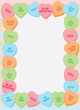Candy Heart Frame. Border made of candy heart illustrations with popular phrases of love and fondness stock illustration
