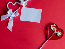 Candy heart and handmade heart. Royalty Free Stock Image