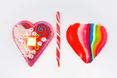 Candy heart and lollipop Stock Images