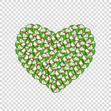 Candy heart made of green and white lollipops and sweets. Isolated on white background. Vector ilustration, icon clip art Royalty Free Stock Image