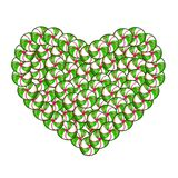 Candy heart made of green and white lollipops and sweets. Isolated on white background. Vector illustration, clip art for Valentine`s day greeting card design Royalty Free Stock Photos