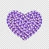 Candy heart made of violet and white lollipops and sweets i. Solated on transparent background. Vector ilustration, icon, clip art, love symbol Stock Photos
