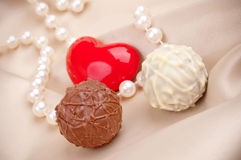 Candy, heart and pearls Royalty Free Stock Photos