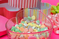 Candy in heart shape box. Heart candy in heart shape box for valentine decoration stock photos