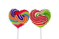 Candy heart on white background. Colorful heart shaped lollipops on white background. Love, fun, isolate, Valentines day Stock Photography