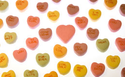 Candy Hearts. Valentine candy Conversation Hearts.  Back Lit Stock Photography