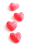 Candy hearts. Sugar candy Valentine's hearts isolated on white background royalty free stock images