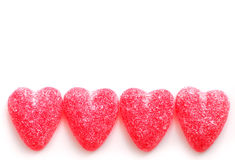 Candy hearts. Sugar candy Valentine's hearts isolated on white background stock photo