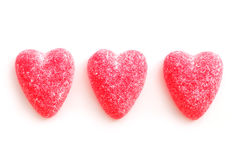 Candy hearts. Sugar candy Valentine's hearts isolated on white background stock images