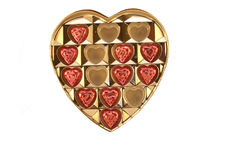 Candy hearts. A box with chocolate candy hearts on a white background stock images