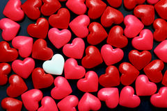 Candy hearts. Sweet candy hearts on black background Royalty Free Stock Images
