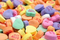 Candy hearts. Assortment of candy hearts with DOF Royalty Free Stock Images