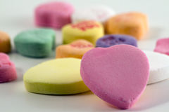 Candy Hearts. Valentine's day candy hearts on white background stock photography
