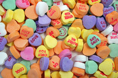 Candy hearts from above Stock Images