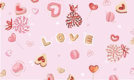 Candy hearts background vector illustration