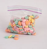 Candy Hearts in a Bag Royalty Free Stock Photo