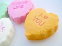 Candy Hearts Closeup Stock Photography