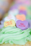 Candy Hearts on Cupcakes Royalty Free Stock Images