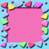 Candy hearts frame Royalty Free Stock Image