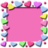 Candy hearts frame Royalty Free Stock Photos